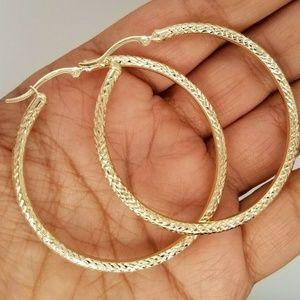 Real 10K Yellow Gold 3 MM Diamond Cut Hoop Earring